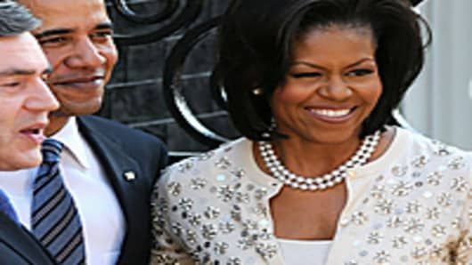 Michele Obama, President Obama, and Prime Minister Gordon Brown