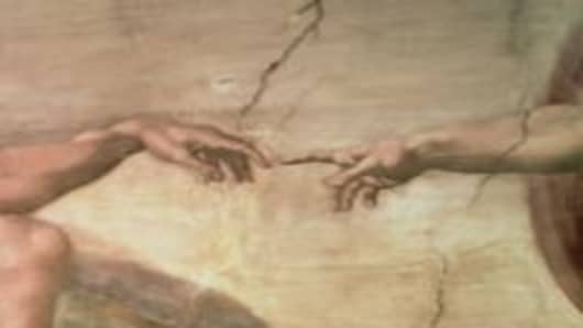The Creation of Adam, from the Sistine Ceiling, 1511 (fresco) (pre-restoration)