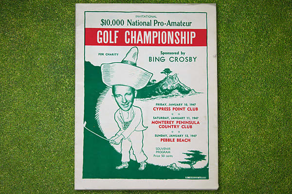 The annual Crosby National Pro-Am was played at Cypress Point Club, Monterey Peninsula Country Club and Pebble Beach in California. This program is from the first year play was resumed after World War II, and established the three golf courses that were used for the championship for the next 20 years.The event was nicknamed the Crosby Clambake because the nation's leading professionals were joined by celebrity amateurs, such as Tarzan actor Johnny Weissmuller and Bob Hope, both pictured in the p