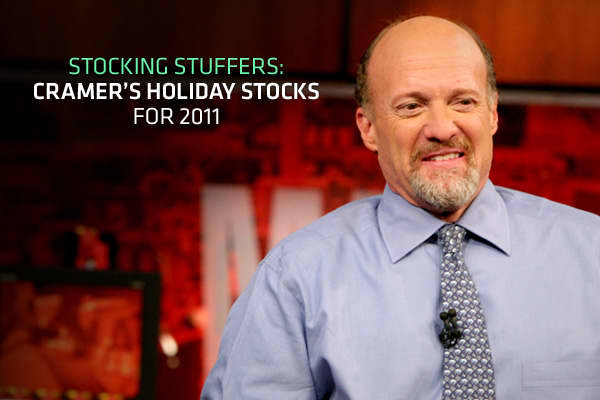 "Not sure what to stuff your stockings with this year? How about something different, like a few shares of companies that are well-timed for the holidays? ""Mad Money"" host Jim Cramer is getting into the spirit of things and has some ideas, so he's compiled a list of stocking stuffers for 2011. They're names he feels remain attractive despite what's happening in Europe. Many are also retailers, who are positioned to benefit from the shopping season. Read on to find out what's on Cramer's wish list"
