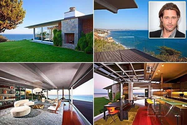 Location: Malibu, Calif.Price: $12 millionBedrooms: 5Bathrooms: 3Square Footage: 4,088While Brad Pitt is not technically married, he's not exactly a swinging single. However, there was a time before he became dad to several dozen children and the unofficial husband of Angelina Jolie. In that time, he had a bachelor pad, and it was good. So good, in fact, that Pitt's former midcentury modern home has recently been scooped up by that house-hustling talk-show maven Ellen DeGeneres and her lovely br
