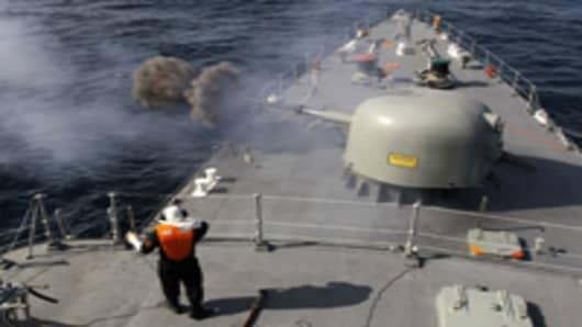 "Iranian navy conducts the ""Velayat-90"" naval wargames in the Strait of Hormuz in southern Iran on January 1, 2012. Iran defiantly announced that it had tested a new missile and made an advance in its nuclear programme after the United States unleashed extra sanctions that sent its currency to a record low."