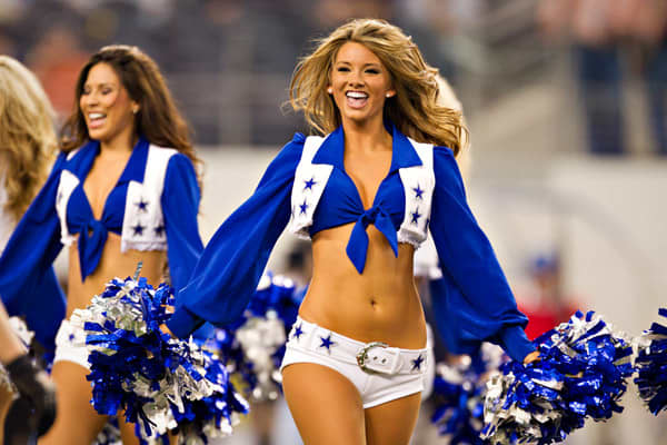 "The Dallas Cowboy cheerleaders are not only the most prestigious squad in the NFL, they're also the most heavily marketed. On the team's website are endless photos and updated cheerleader blogs, not to mention more than 130,000 people have ""liked"" the squad on Facebook. Additional fan interaction takes place through youth programs and public appearances, including store openings and trade shows targeted at football's key demographic: men. The Dallas Cowboy website is truly comprehensive, includi"