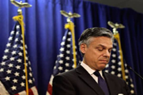 Former Utah Gov. Jon Huntsman speaks as he announces that he will drop out of the race for the White House bid and endorse Mitt Romney during a press conference at the Myrtle Beach Convention Center January 16, 2012 in Myrtle Beach