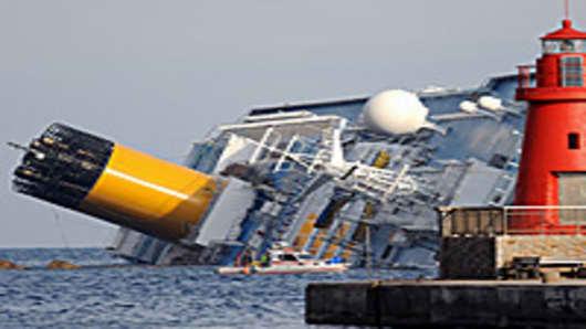 Sinking cruise ship in Giglio Porto, Italy
