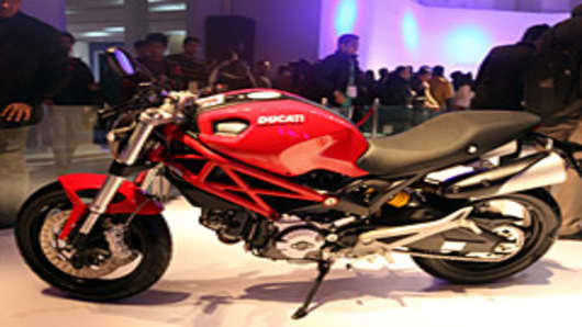Iconic Italian motorbike brand Ducati unveils its 'Monster' model M795 this month during the 11th Auto Expo 2012.