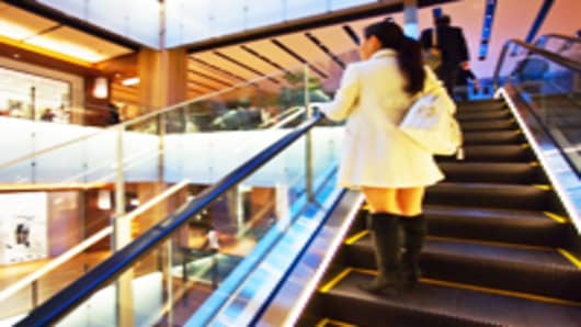 Woman on Escalator at Midtown Tokyo