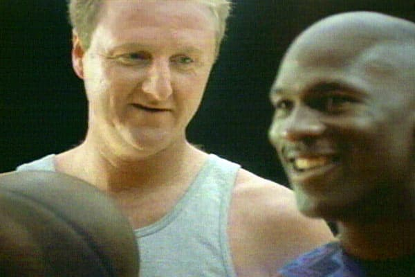 A classic H-O-R-S-E battle between the NBA's biggest stars at the time, Michael Jordan and Larry Bird, playing for a Big Mac.