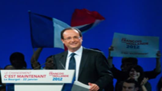 French Socialist Party (PS) candidate for the upcoming Presidential Election Francois Hollande addresses the audience during a campaign meeting at Le Bourget on January 22, 2012 in Paris, France.