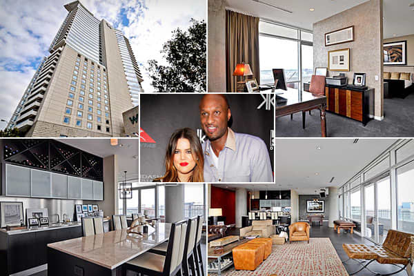 Location: DallasPrice: $7,500/ monthBedrooms: 2Bathrooms: 2    Square Footage: N/AThe socialite from the inescapable Kardashian clan and the NBA player for the Dallas Mavericks recently settled into the W Dallas Victory Hotel and Residences. As the  points out, Odom might not stay with the team for the long term, hence the rental. The spacious condo features slate flooring, Miele appliances in the kitchen, mother-of-pearl tiles in the bath and a pool table. And being part of the W hotel, residen