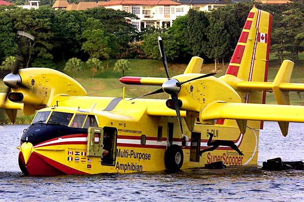 """Superscooper"" — Water BomberThe Bombardier 415 is an amphibious Canadian water bomber — the only aircraft specifically designed for aerial firefighting.Also known as the ""Superscooper"" in the U.S., the Bombardier 415 was launched in 1994 and there are now 76 aircraft in service with more than 18 operators in 10 countries. The plane can scoop 1,621 gallons of water in 12 seconds while skimming water at a high speed. The aircraft can also complete nine drops within an hour, delivering a total of"