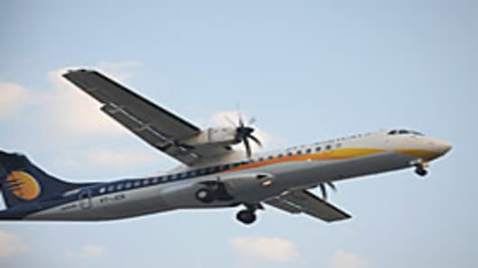A Jet Airways plane approaches Ahmedabad airport.