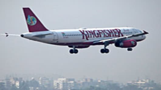 A Kingfisher Airlines Ltd. aircraft prepares to land at Mumbai International Airport
