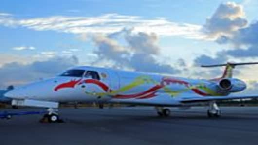 Jackie Chan's Embraer Legacy 650 at the Singapore Airshow 2012.