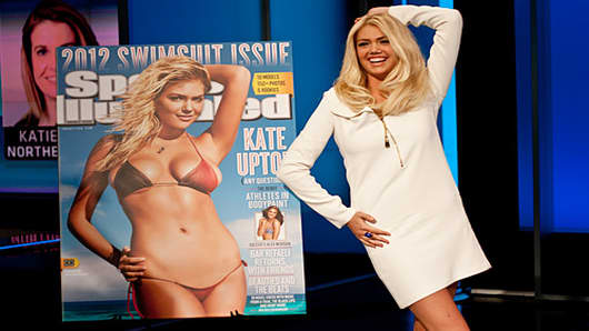 Kate Upton recreates her cover image pose.