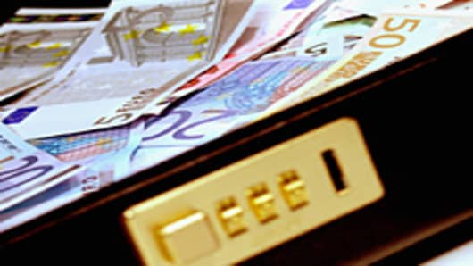 Euro bank notes in a briefcase