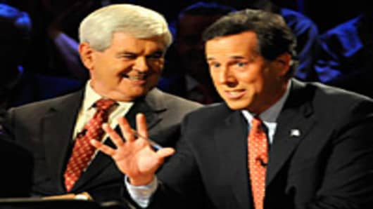 GOP Candidates Newt Gingrich and Rick Santorum