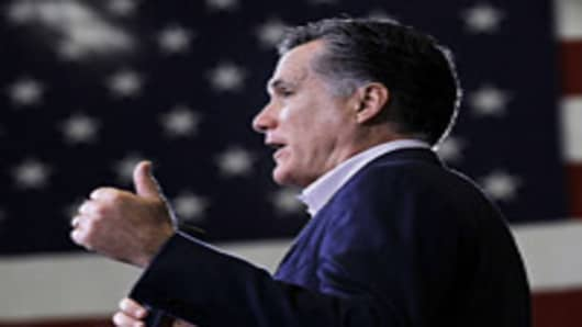 Republican presidential candidate and former Massachusetts Gov. Mitt Romney speaks during a town hall style meeting at Taylor Winfield on March 5, 2012 in Youngstown, Ohio.