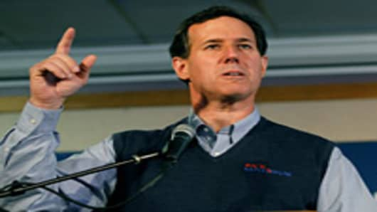 Republican presidential candidate, former U.S. Sen. Rick Santorum speaks during a campaign rally at the Dayton Christian School on March 5, 2012 in Miamisburg, Ohio.