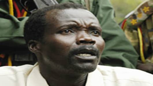 Joseph Kony, leader of the rebel group the Lord?s Resistance Army that has been fighting a war against the Ugandan government for the past twenty years, makes a rare statement to the media during peace talks on August 1, 2006 on the Congo-Sudan Border.