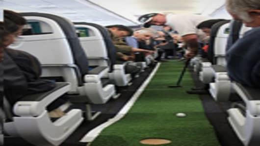 Golfing on an Air New Zealand flight