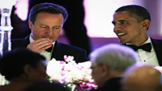 U.S. President Barack Obama hosts British Prime Minister David Cameron for a state dinner at  the White House March 14, 2012 in Washington, DC.