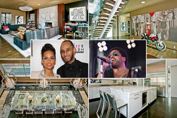 Location: New YorkPrice: $17,950Bedrooms: 5Bathrooms: 4 full, 4 partialSquare footage: 6,167 plus terracesThis SoHo triplex  last belonged to Lenny Kravitz, but has more recently been the love nest of Alicia Keys and Swizz Beatz. Their master bedroom suite with spa is accessed via a floating glass staircase, and it has a private terrace. Other rock star-worthy, unheard-of-in-Manhattan features include keyed elevator entry, a walk-in butler's pantry, a glass-encased formal dining room overlooking