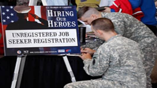 Military veterans at job fair.