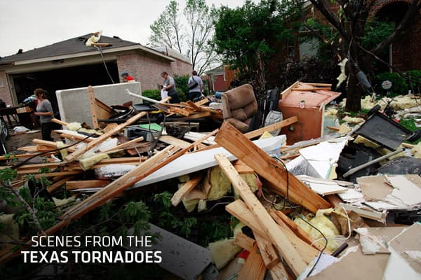 As the Dallas metro area begins to assess the damage from Tuesday's storm, the Red Cross released a preliminary estimate of 650 damaged homes, while no fatalities have yet been reported. Injuries were reported throughout the area, while at the Dallas-Fort Worth International Airport flights were canceled and many travelers had no choice but to sleep in the airport overnight. The slow-moving storm left thousands without power. The National Weather Service said as many as a dozen twisters touched