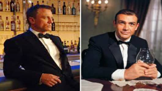 Daniel Craig and Sean Connery as James Bond