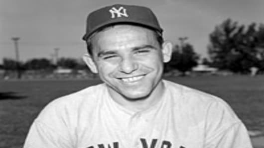 Yogi Berra of the New York Yankees poses for a Spring Training portrait circa the early 1950's in St. Petersburg, Florida. Lawrence Peter Berra played for the Yankees for the majority of his career from 1946-63.