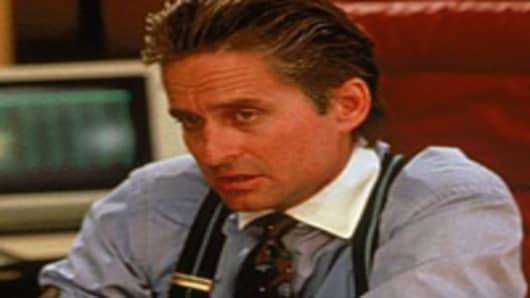 Michael Douglas as Gordon Gekko in the movie 'Wall Street'