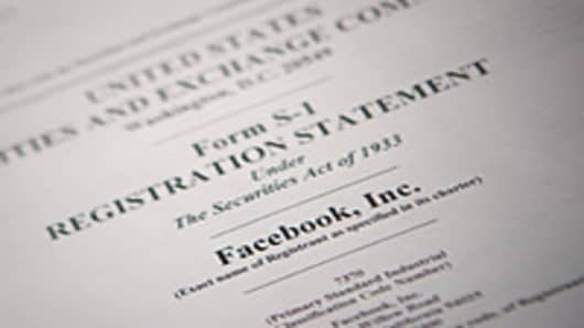 The U.S. Securities and Exchange Commission's Form S-1, filled out by Facebook Inc.