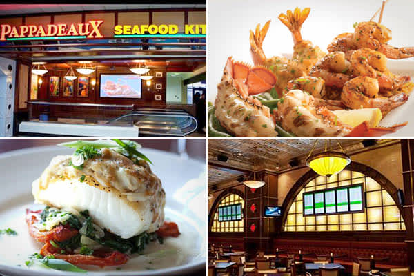 """Eatery: Pappadeaux Seafood KitchenServes: Seafood, American, Cajun & CreolePopular menu item: OystersTerminal A's Pappadeaux Seafood Kitchen is part of a chain from the Pappas family of restaurants headquartered in Houston. Although it's a chain, the seafood is fresh, not frozen. """"You won't even know you are in an airport"""" said one reviewer, and 100% of TripAdvisor  recommend it. They also praise the quiet location, downstairs from the main bustle of the terminal."""