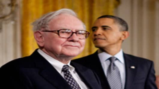 Warren Buffett and President Barack Obama