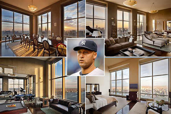 Price: $17.95 million Location: New YorkBedrooms: 4Bathrooms: 5 full, 1 halfSquare footage: 5,425Derek Jeter is selling his Midtown East apartment in Trump World Tower at UN Plaza, according to the . The apartment was once home to another heavy hitter: Jeter bought it for 12.72 million in 2001 from Donald Trump. The 16 foot ceilings and south-facing, 77-foot wall of windows allows panoramic Manhattan views. The bachelor Jeter's pad includes ultra-suede wallpaper, a pool table, poker table, dinin