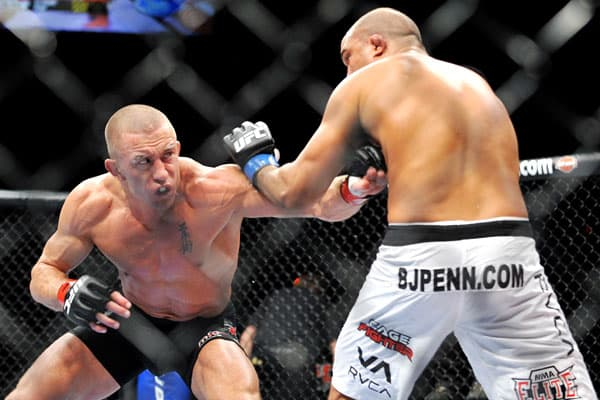 "B.J. Penn is a former mixed martial artist and Georges St. Pierre is the current welterweight champion of the Ultimate Fighting Championship. They sparred in 2006, and St. Pierre won in a controversial split decision that guaranteed a rematch.That contest came in January 2009 and was preceded by mutual trash-talking, which Penn took literally to the ultimate degree. ""I'm serious. Georges,""  ""I'm going to go to the death. I'm going to try to kill you, and I'm not joking about this."" But St. Pierr"