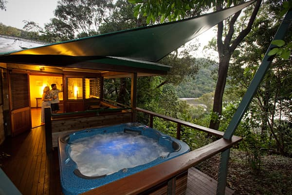 Cost: $1,210 to $3730 per guest, per night Sitting in the middle of the Daintree Rainforest, Australia's largest stretch of tropical jungle, is too far removed to receive a cell signal. Novermind: you'll be too wrapped up in the views of Weary Bay from your private terrace to get lonely.  You'll have to charter a plane for the 30-minute flight from Cairns, but after that hotel staff will chauffeur you through the Outback and ferry you across Weary Bay in an aluminum boat. (Don't attempt the over