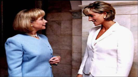 Princess Diana meets with Hillary Rodham Clinton at The White House on June 18, 1997.