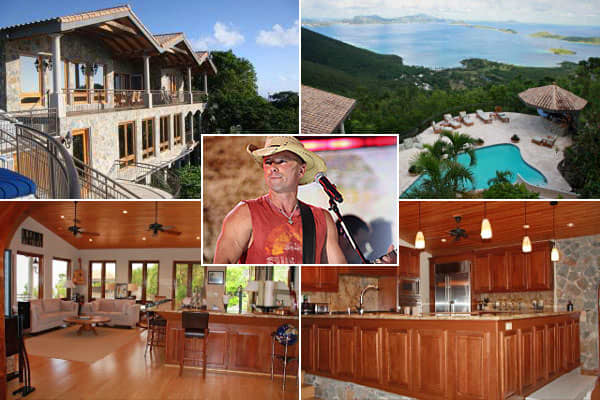 Location: St. John, U.S. Virgin IslandsPrice: $7.9 millionBedrooms: 7Bathrooms: 7Square footage: 9,742A prolific performer who rose to fame in the '90s wave of new country, Kenny Chesney is more likely to wear a ball cap than a cowboy hat on stage. Chesney has 15 albums under his belt, of which 14 went gold or higher. This probably helped him purchase his Stoneridge estate on St. John (one of a reported collection of  St. John properties). The estate overlooks Caneel Bay and the North Shore and