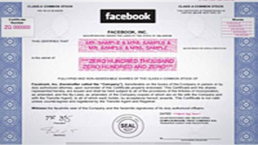 Facebook Stock Certificate. Click image to view larger.