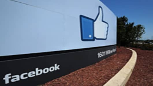 Facebook sign at their main campus in Menlo Park, California.