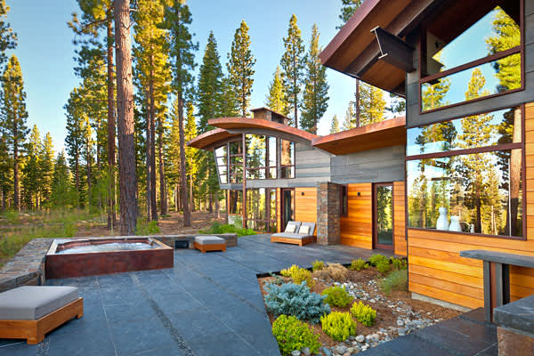 Location: Truckee, Calif.Price: 11.85 millionBedrooms: 4+Bathrooms: 5 full, 2 partialSquare Footage: 7,188The contemporary mountain  is made primarily of western red cedar, black mountain granite, steel panels and steel beams, with a copper roof and mahogany window frames. It has more than 2,800 square feet of outdoor terrace with a hot tub with views of Carson Range and Lookout Mountain.