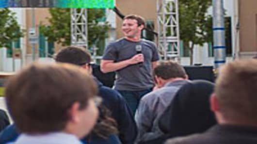 Mark Zuckerberg speaking at Facebook's Hackathon