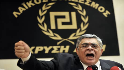 Nikos Michaloliakos is the leader of the extreme right-wing party, whose name translates as Golden Dawn. It has often attracted controversy, with two high profile murderers linked to the group, and the alleged use of the Nazi salute at an Athens Municipal Council meeting.