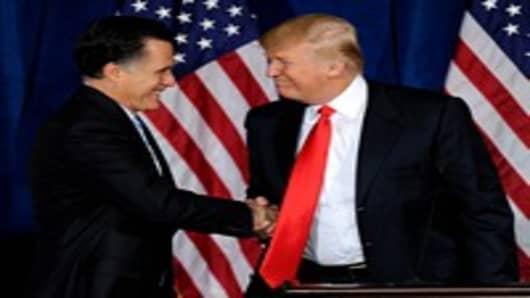 Donlad Trump endorses Mitt Romney on February 2, 2012.