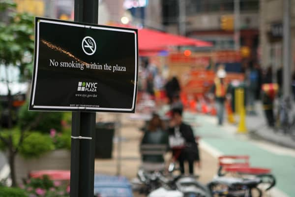 In 2003, New York became one of the first states in the U.S. to institute an Eight years later, New York City took things a step further and banned smoking in outdoor public places as well, including parks, beaches, and pedestrian malls. Violation of the ban carries a $50 fine.