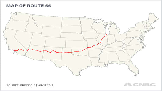 Map of U.S. Route 66