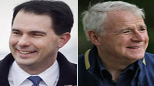 Scott Walker (L) Tom Barrett (R)