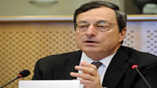 European Central Bank President Mario Draghi testifies before the European Parliament's economic affairs committee in his role as the head of the European Systemic Risk Board on May 31, 2012 in Brussels.